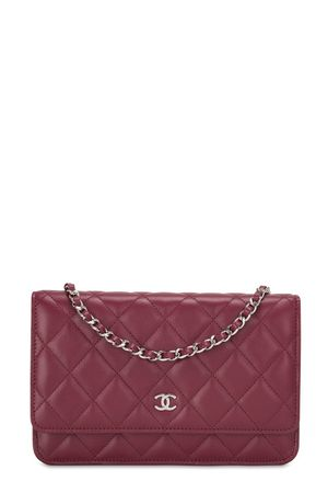 Chanel Quilted Lambskin Classic Wallet On Chain Red