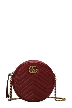 Gucci GG Marmont Mini Round Bag Hibiscus Red