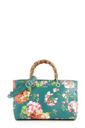 Gucci Medium Bamboo Shopper Green Blooms