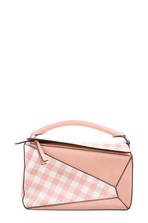 Loewe Gingham Medium Puzzle Bag Pastel Pink