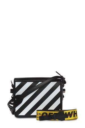 Off-White Diagonal Stripes Binder Clip Bag Black with Yellow Strap