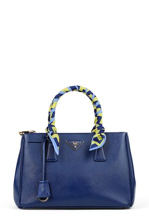 Prada Small Saffiano Lux Double Zip Tote Bluette with Handle Wraps