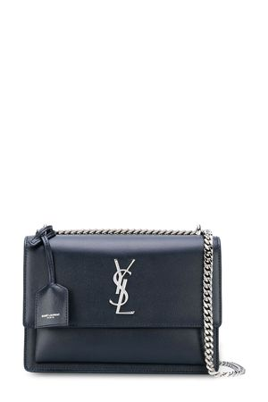 Saint Laurent Medium Sunset Bag Navy with Silver Hardware